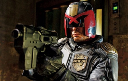 Karl Urban as Judge Dredd from the DNA Pictures film Dredd
