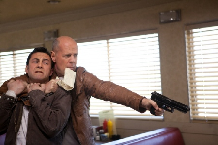 Old Joe holds Young Joe hostage from the Endgame Entertainment film Looper