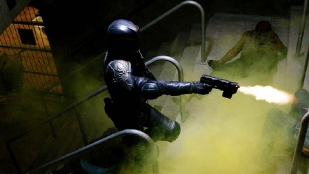 Dredd mows down perps from the DNA Pictures film Dredd