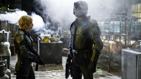 Olivia Thurlby and Karl Urban from the DNA Pictures film Dredd
