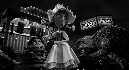 Elsa Van Helsing and Edgar E. Gore fend off a rat monster from the Walt Disney Pictures film Frankenweenie
