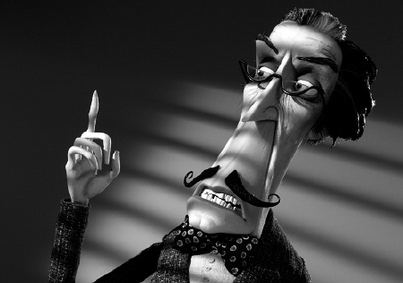 Mr. Rzykruski lectures the towns people from the Walt Disney Pictures film Frankenweenie