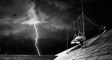 Dead Sparky in a New Holland lightning storm from the Walt Disney Pictures film Frankenweenie