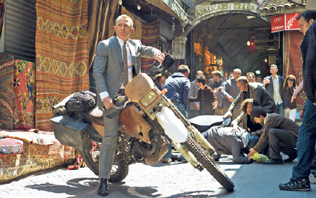 James Bond on a motorcycle from the MGM film Skyfall