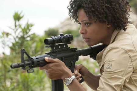 Eve Moneypenny takes the shot from the MGM film Skyfall