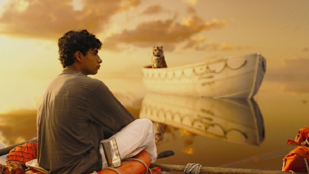 Pi and Richard Parker stake out their territory from the Fox 2000 Pictures film Life of Pi