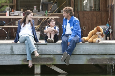 Jessica Biel, Noah Lomax, and Gerard Butler from the Millennium Films movie Playing for Keeps
