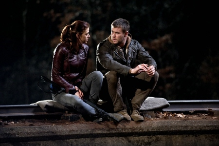 Adrianne Palicki and Chris Hemsworth from the MGM film Red Dawn 2012