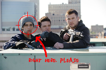 Josh Peck, Josh Hutcherson, and Chris Hemsworth from the MGM film Red Dawn 2012