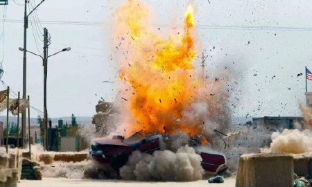 a car bomb explodes from the Annapurna Pictures film Zero Dark Thirty