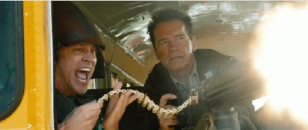 Johnny Knoxville and Arnold Schwarzenegger from the Di Bonaventure Films movie The Last Stand