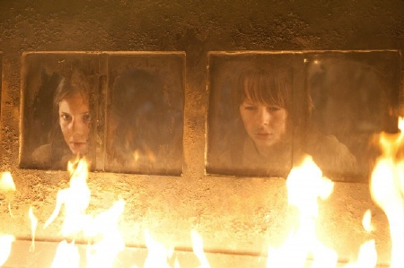 Young Hansel and Gretel burn a witch  from the Paramount Pictures film Hansel and Gretel Witch Hunters