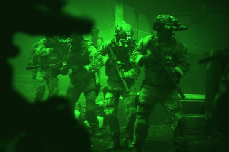 SEALS use night vison on the raid from the Annapurna Pictures film Zero Dark Thirty