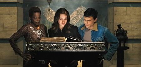 Ammy Lena and Ethan read a spell book from the Warner Bros. Pictures film Beautiful Creatures