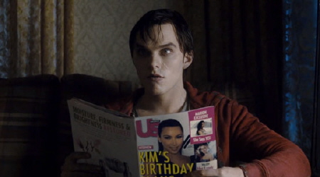 R reads a magazine from the Summit Entertainment film Warm Bodies
