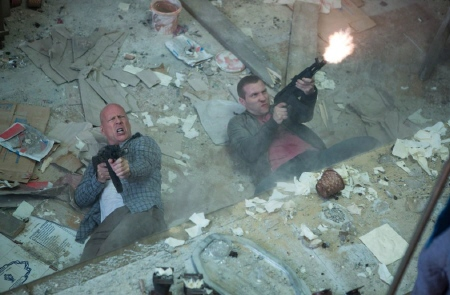John and Jack return fire  from the 20th Century Fox film A Good Day to Die Hard