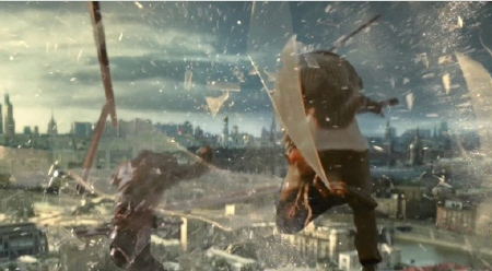 John and Jack jump out a window from the 20th Century Fox film A Good Day to Die Hard