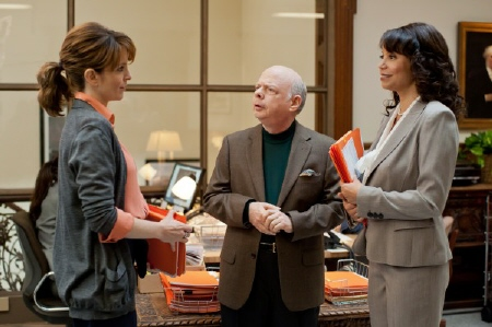 Tina Fey, Wallace Shawn, and Gloria Reuben in the Focus Features film Admission