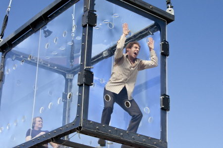 Burt and Anton are trapped in a box in the Warner Bros. Pictures film The Incredible Burt Wonderstone