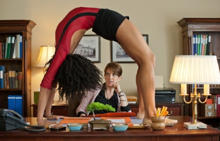 a gymnast in the admissions office in the Focus Features film Admission
