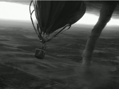 hot air balloon flies into tornado from the Disney film Oz the Great and Powerful