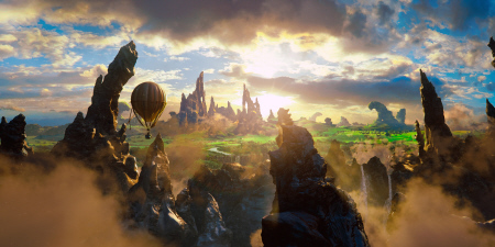 hot air balloon flies into Oz from the Disney film Oz the Great and Powerful