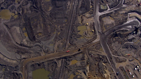An aeral view of the Alberta tar sands from the Rob Stewart documentary Revolution