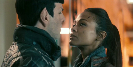 Spock and Uhura from the Paramount Pictures film Star Trek Into Darkness