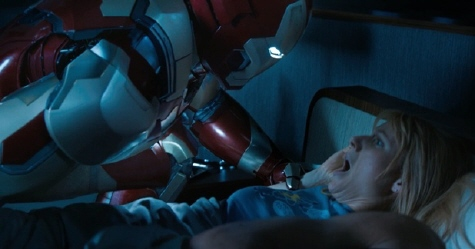 Pepper in bed with the iron suit from the Marvel Studios film Iron Man 3