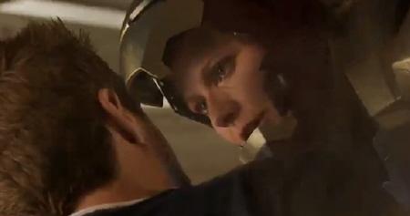 Pepper saves Tony from the Marvel Studios film Iron Man 3