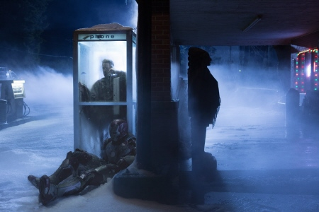 Tony phones home from the Marvel Studios film Iron Man 3