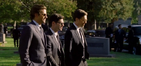 Phil, Doug, and Stu at the funeral from the Legendary Pictures film The Hangover Part 3
