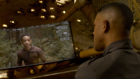 Cypher watches Kitai on the monitor from the Columbia Pictures film After Earth