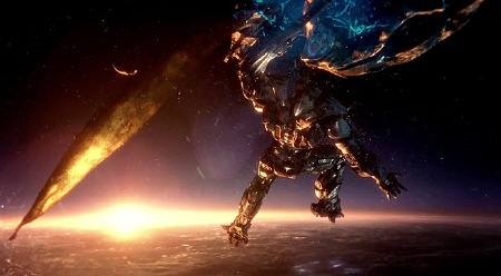Gipsy Danger battles an airborne Kaiju from the Warner Bros. Pictures film Pacific Rim