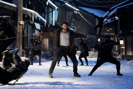 Logan fights ninjas from the Marvel Entertainment film The Wolverine