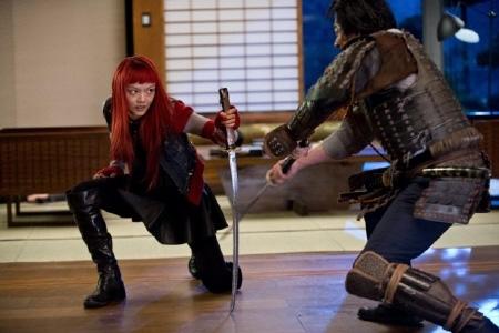 Yukio fights samurai from the Marvel Entertainment film The Wolverine