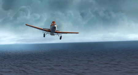 Dusty alone over the ocean from the Walt Disney Pictures film Planes