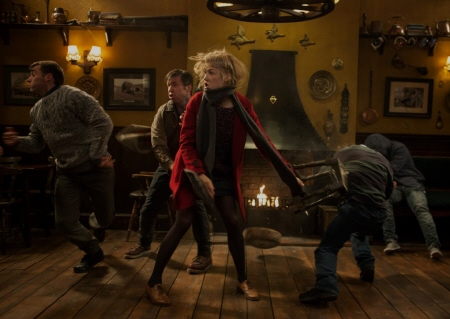 Sam in a bar fight from the Universal Studios film The Worlds End