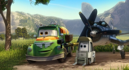 Chug, Dottie, and Skipper from the Walt Disney Pictures film Planes