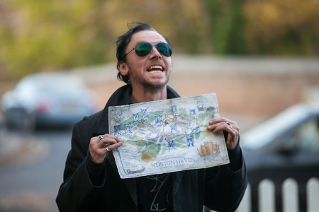 Gary with the Golden Mile map from the Universal Studios film The Worlds End