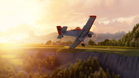 Dusty flies over a field at sunset from the Walt Disney Pictures film Planes