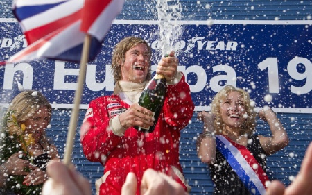James Hunt celebrates a victory from the Imagine Entertainment film Rush