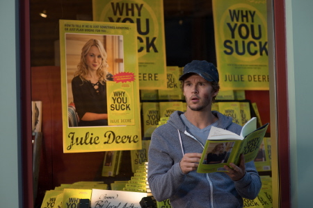 Leo reads Why You Suck the book from the Serendipity Point Films movie The Right Kind of Wrong