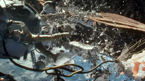 Debris hits the International Space Station from the Warner Bros. Pictures film Gravity