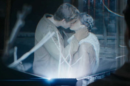 Gale kisses Katniss from the Lionsgate film Hunger Games 2 Catching Fire