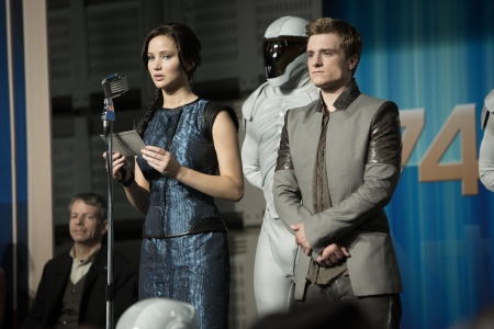 Katniss and Peeta on the victory tour from the Lionsgate film Hunger Games 2 Catching Fire