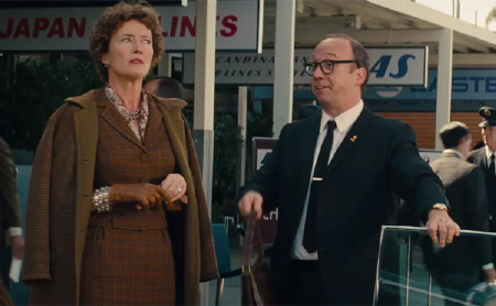 P.L. Travers meets her limo driver Ralph from the Walt Disney Pictures film Saving Mr. Banks
