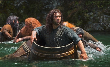 Kili in a barrel from the Warner Bros. Pictures film The Hobbit Desolation of Smaug