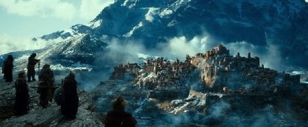 The dwarves spot Erebor from the Warner Bros. Pictures film The Hobbit Desolation of Smaug