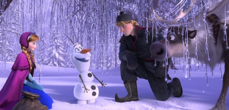 Anna Kristoff and Sven meet Olaf from the Walt Disney Pictures film Frozen